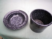 Black speckled large plant pot and fruit bowl habitat