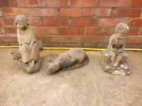 3 x concrete garden statues very weathered