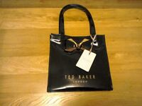 Ted baker small black gloss bow bag