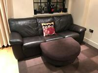 DFS Italian made comfy brown real leather 3 seater sofa bed with footrest