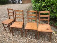 Wooden chairs x 4