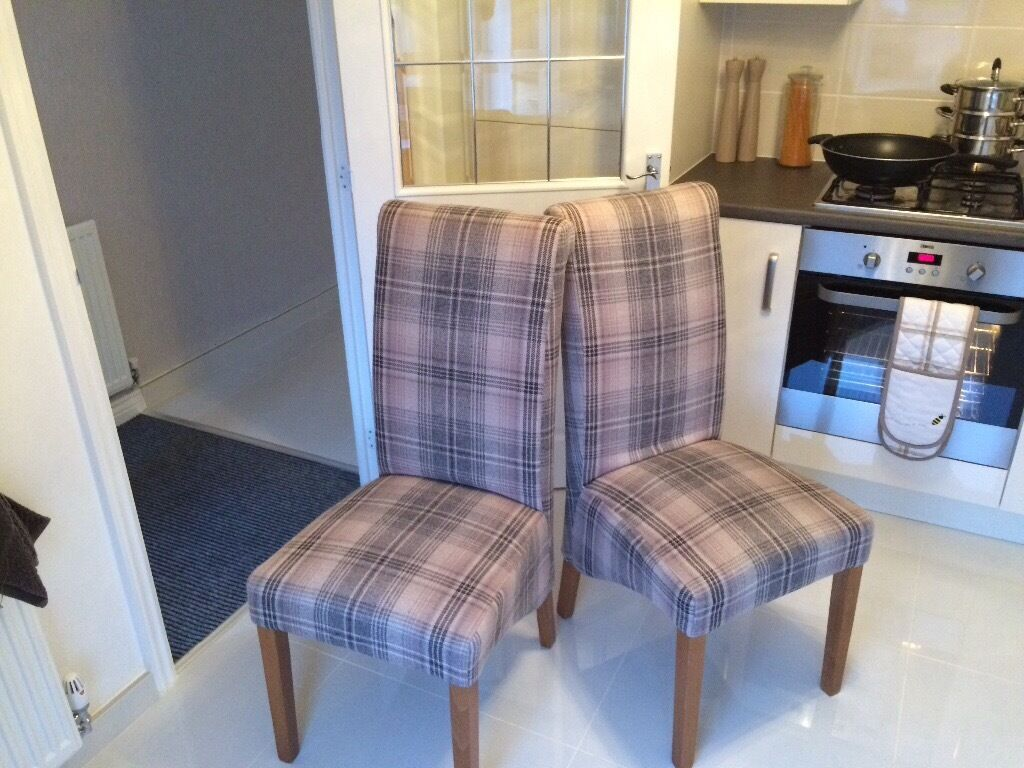 2 Next Harlow Check Dining Chairs For Quick Sale