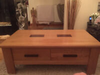 Coffee Table & Sideboard Cupboard - Solid Pine with Dark Wood Panels