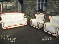3+1+1 cream leather italian suite used vgc very comfy in n wales