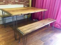Rustic solid Beech Dining Table and Two Benches - Hairpin Legs - Heavy Duty 12mm 3 prong