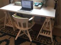 Ikea desk and matching swivel chair with armrests