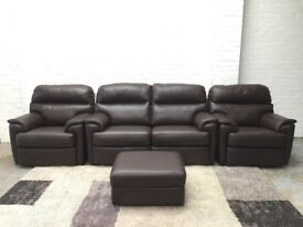 G Plan Brown Real Leather Watson 2+1+1 Seater Sofas+ Storage Footstool