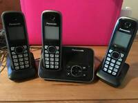 PANASONIC KX-TG6623EB TRIO CORDLESS PHONES WITH ANSWERING MACHINE