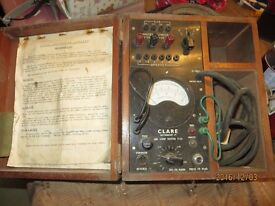 Electrical instrument. Clare instrumentCo. Ammeter Voltmeter. In wood carrying box