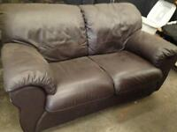 2 seater settee brown leather sofa