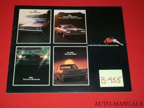 VINTAGE 1969 PLYMOUTH LINE BROCHURE FURY GTX ROAD RUNNER SATELLITE 'CUDA VALIANT