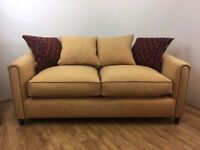Very Large 4 Seater Corn Colour (yellow) Suede Effect Sofa