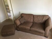 Brown 2/3 person sofa and matching storage footstool