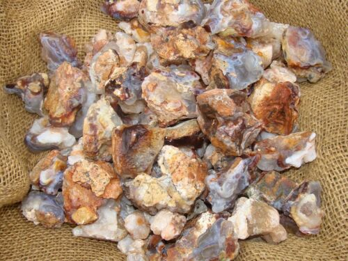 FIRE AGATE/ CHALCEDONY Rough Rocks - 1 Lb Lots - Tumbling, Crafts, Cabbing