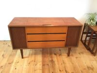 Vintage teak record player sideboard unit cabinet garrard deck