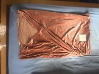 Salmon velvet slit long skirt