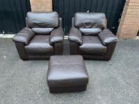 Two brown leather armchairs, chairs, single seater with pouffe (delivery available 🚚🚚🚚)