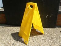 Bright Yellow Plastic Floor Sign Stands