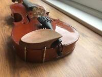 Beginners violin with case and purple music stand