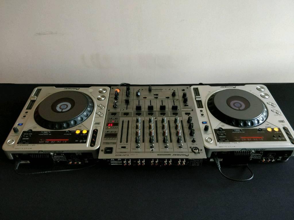 Pioneer CDJs, DJM mixer and Flight Case