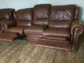 Blenheim DFS tan leather reclining sofas,, 3+2+1 .. slightly worn RRP £7000