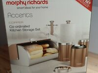 Morphy Richards copper set. Bread bin, mug tree, kitchen roll holder and 3x containers