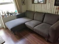 Two-seat sofa with chaise longue - dark blue /grey