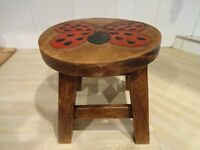 CHILDS STOOL -- HAND PAINTED -- HAND CARVED -- BUTTERFLY