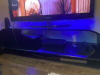 Thick Glass Black & Clear Tv Stand Unit Table