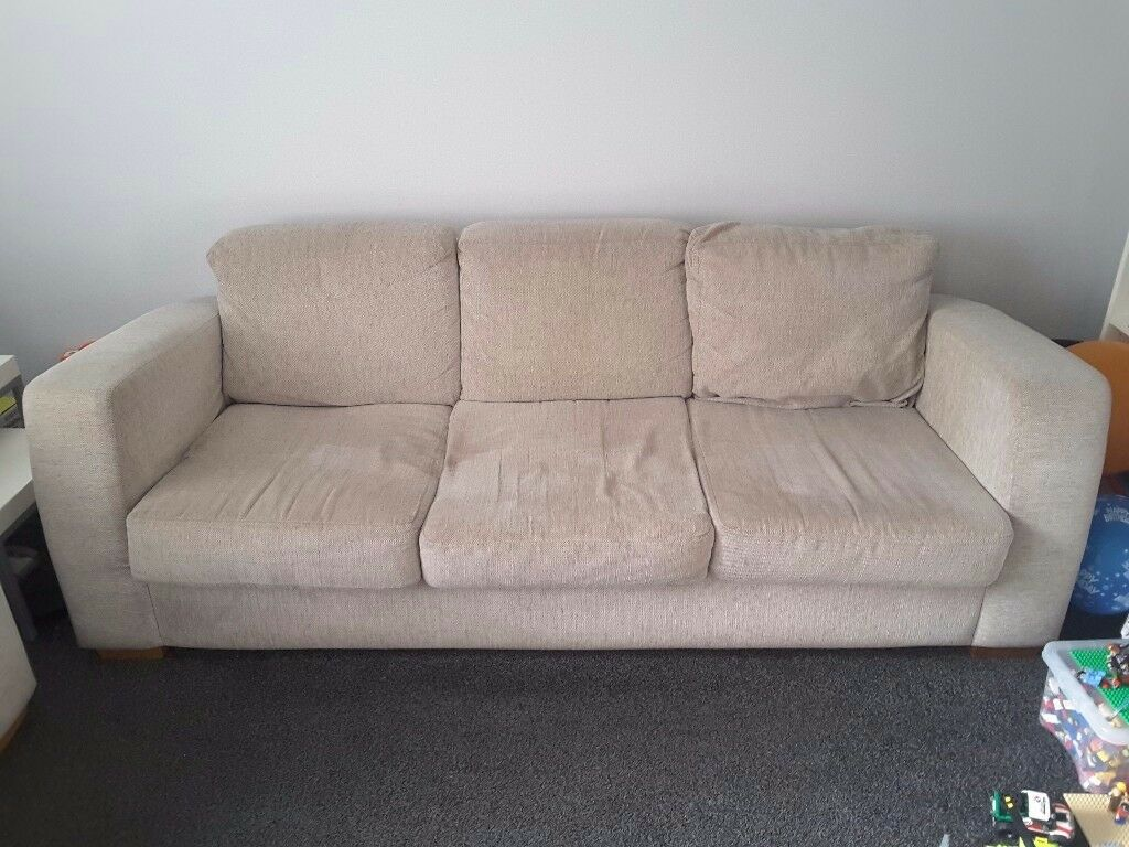 Two 3-seater silver grey sofas