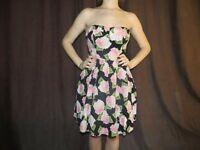 Flower Print Strapless Skater Dress