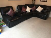 Leather Corner Recliner with cooler cup holders and built in speakers