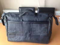 Genuine-Leather Black Overnight Bag/Holdall - REDUCED