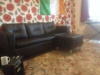 Couch with footstool for sale (fuax leather)