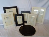 Set of 6 quality faux leather picture frames of varied sizes + mouse mat