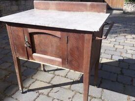 Oak wash stand with marble top