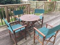 Dark wood garden furniture, excellent condition.