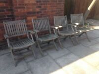 4 Teak Garden Chairs Very Well Made by John Lewis Solid Teak Wood Folding Garden or Patio Chairs