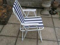 Folding Portable Beach / Camping Deck Chair - Blue Stripe