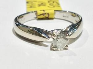 #1523 14K WHITE GOLD 1/4CT DIAMOND SOLITAIRE ENGAGEMENT RING *SIZE 6 1/4* JUST BACK FROM APPRAISAL AT $1750.00!