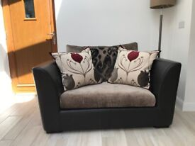 Leather and Velour 1-2 Seater Sofa with Cusions