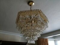 Lead crystal and gold leaf ceiling chandelier and 4 matching wall chandeliers