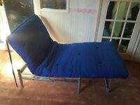 Single Futon Bed Metal Framed 2 Position, Cushion Measures 190 x 96cm