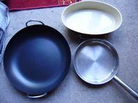 Pan, Big paella cooking pan or multipurpose pan, stainless steel frying pan and ceramic baking dish