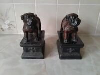 2 matching bull dogs ornaments