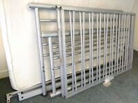 DOUBLE BED METAL FRAME+ MATTRESS + DUVET+BED SHEET USED SALE OUT TODAY