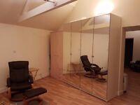 Ikea Pax White Mirrored Wardrobes (each 236cm tall, 100cm wide, 60cm deep)
