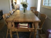 Pine table & 6 chairs 6x3 top needs sanding buyer collects
