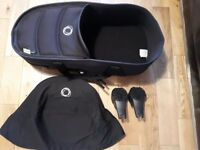 Bugaboo bee black carry cot with base, adaptors and black canopy included