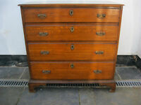 Antique Georgian Oak and Mahogany chest of Drawers